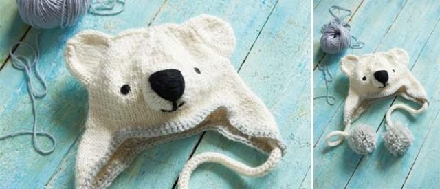 Knitted Polar Bear Hat Sweet Living dot co site Rachel Henderson's new book Animal Hats