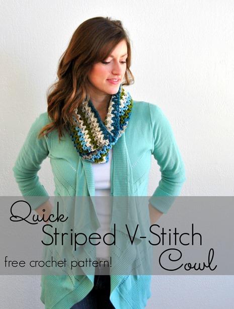 Striped V-Stitch Cowl