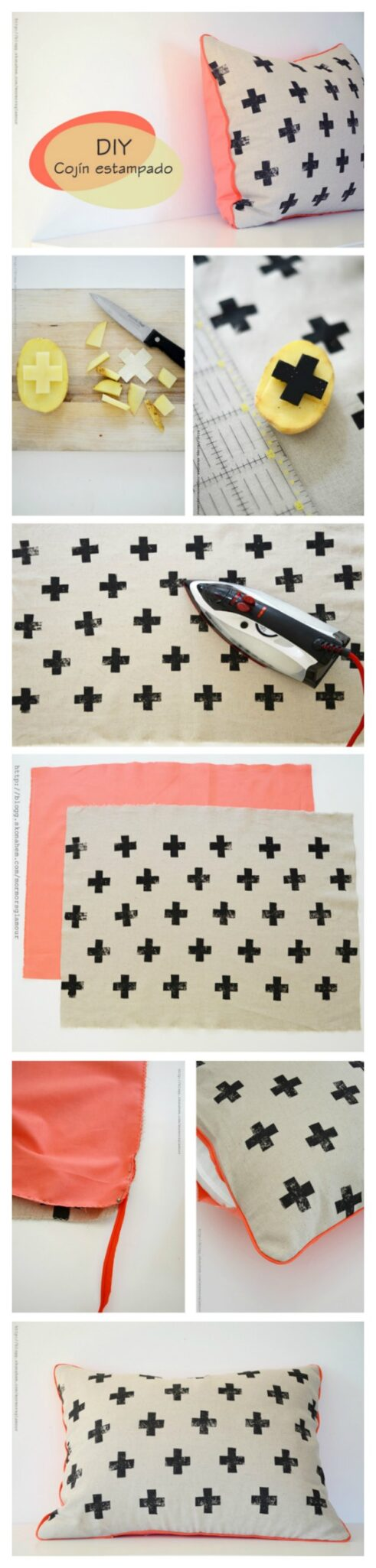 Potato stamped pillow with cross pattern