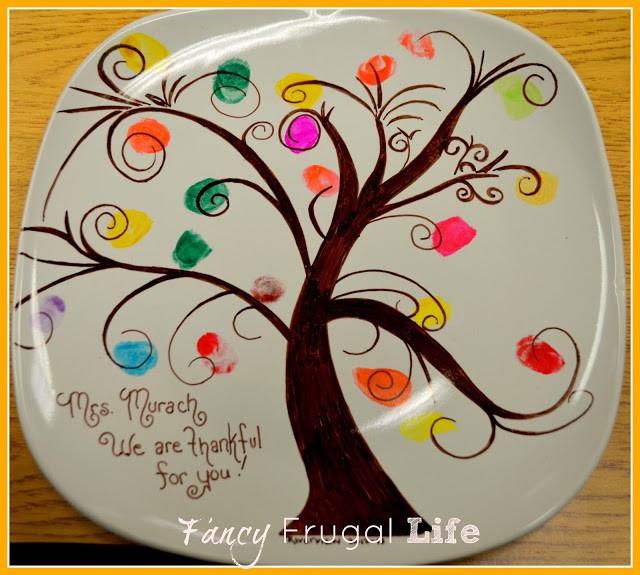 finger print tree teacher gift