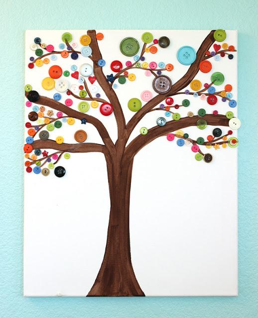 Button Art Tree Canvas
