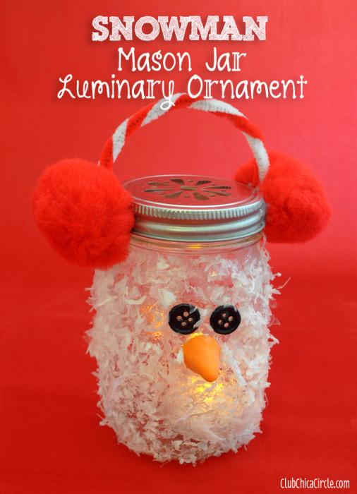 Snowman Luminary Mason Jar