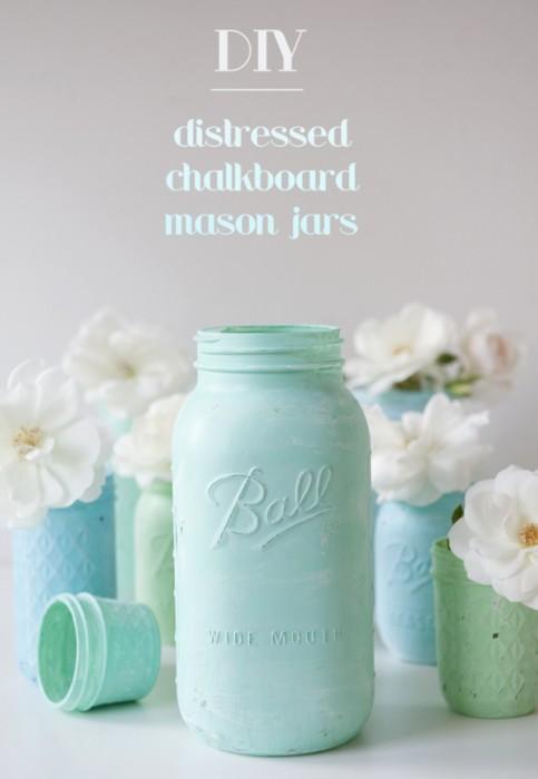 Distressed Chalkboard Mason Jars