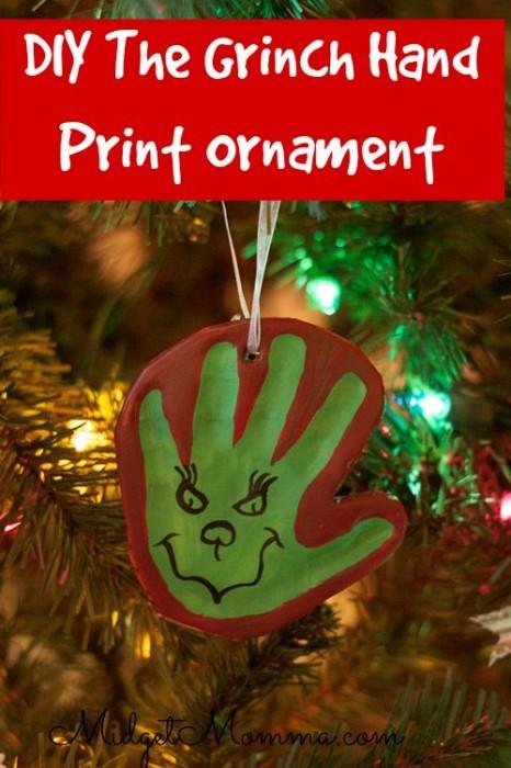 Grinch Handprint Ornament