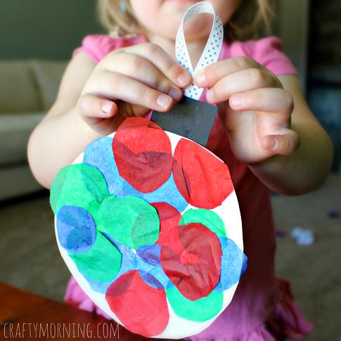 Tissue Paper Ornament Paper Plate Craft