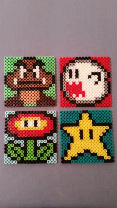 Mario Bros Bead Coasters
