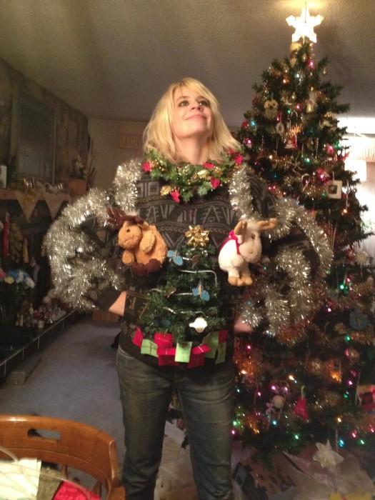 Reindeer and Wreath Ugly Christmas Sweater