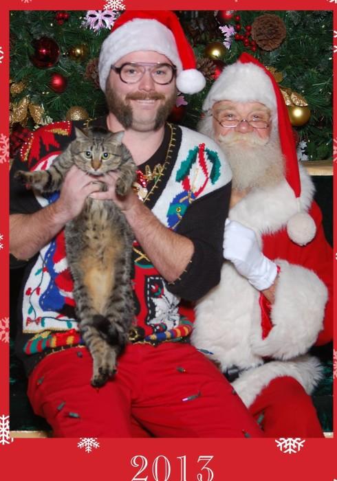 Santa and Cat Christmas Card
