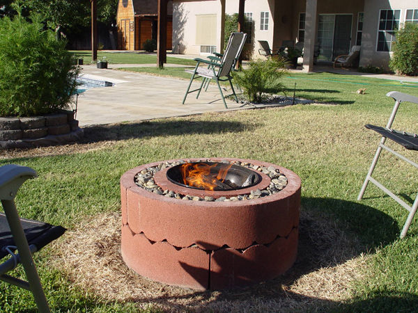 50 dollar fire pit using concrete rings