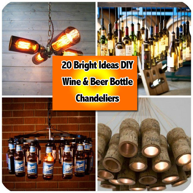 20 Bright Ideas DIY Wine & Beer Bottle Chandeliers
