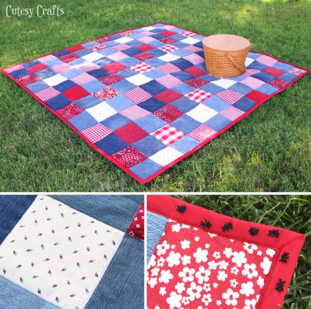 Denim picnic quilt