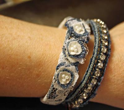 bejeweled denim bracelets