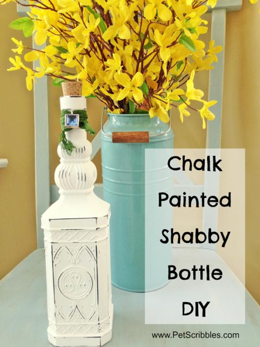 Chalk Painted Shabby Bottle DIY