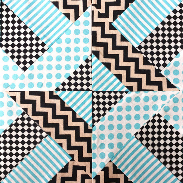 Quick and Easy Doubly Striped Half Square Triangle Block