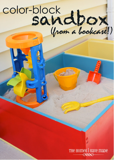 Color Block Sandbox from a Bookcase