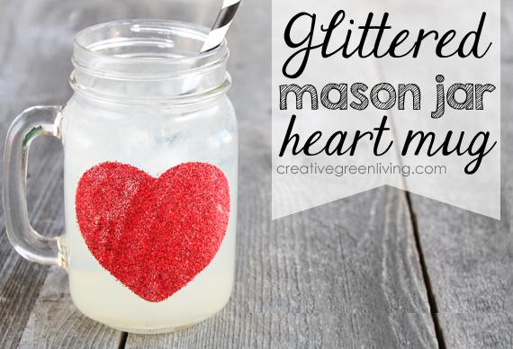 Glittered Mason Jar Heart Mug for Valentines Day