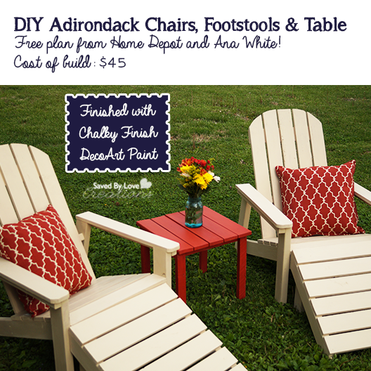 DIY Adirondack Chairs Footstool and Table