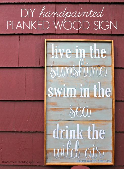 DIY handpainted Planked Wood Sign