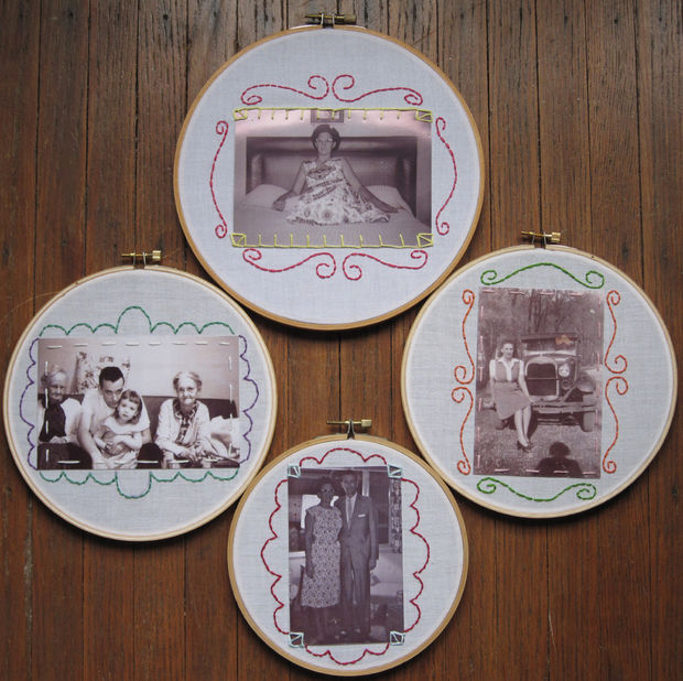 Embroidery hoop picture frame