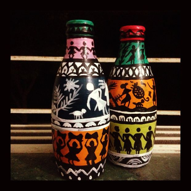 Hand Painted Bottles For Home Decor