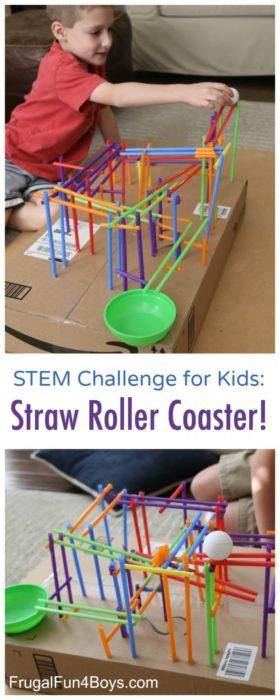 STEM Challenge for Kids Straw Roller Coaster