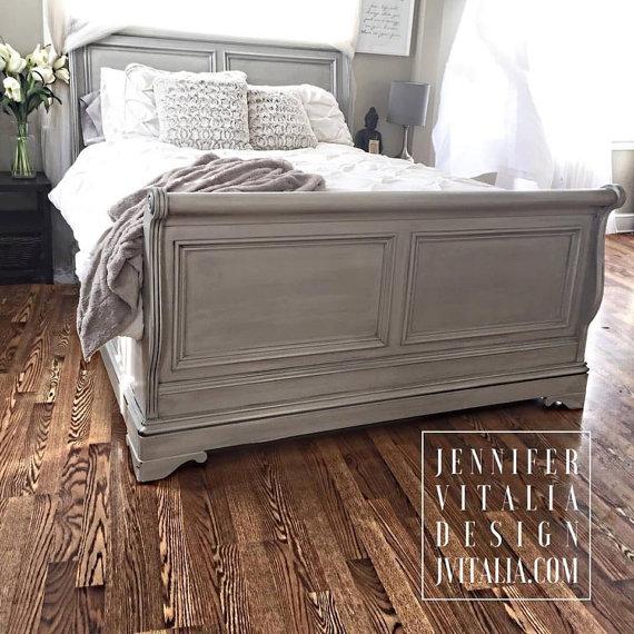 Sleigh Bed, Gray Handpainted