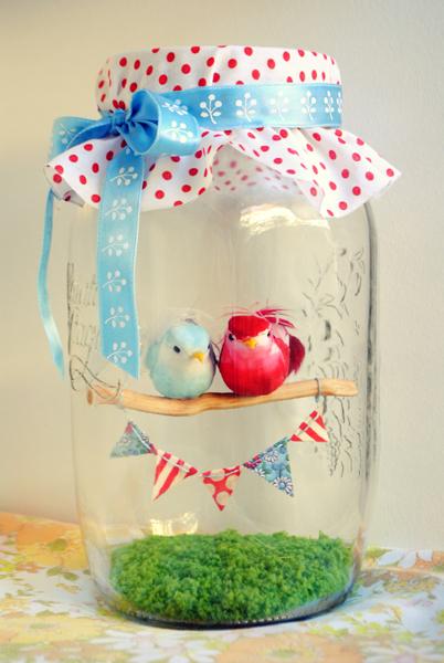 Love Birds Diorama in a Mason Jar
