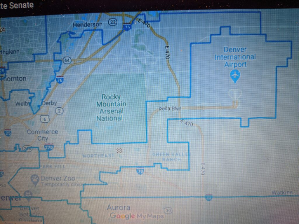 Map of Colorado General Assembly Senate District 33 covering Downtown and Northeast Denver, Green Valley Ranch & DIA grounds