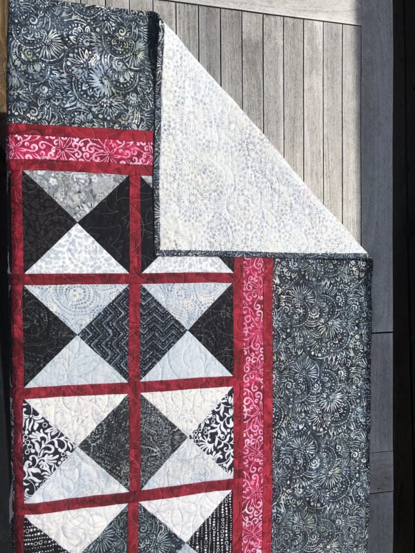 Quilt for Sale | 63 X 82 | Red, White & Black