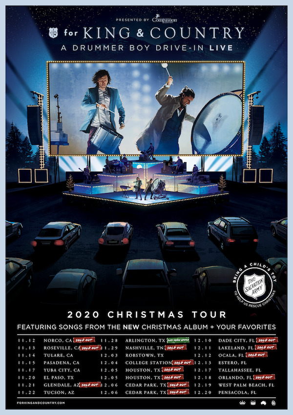 for KING & COUNTRY EMBARKS ON A DRUMMER BOY DRIVE-IN: THE CHRISTMAS TOUR TONIGHT