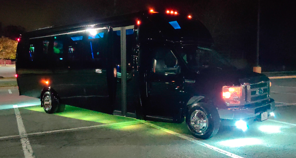 Dicko Transportation 24 Passenger Party Bus front and rear strobe lights