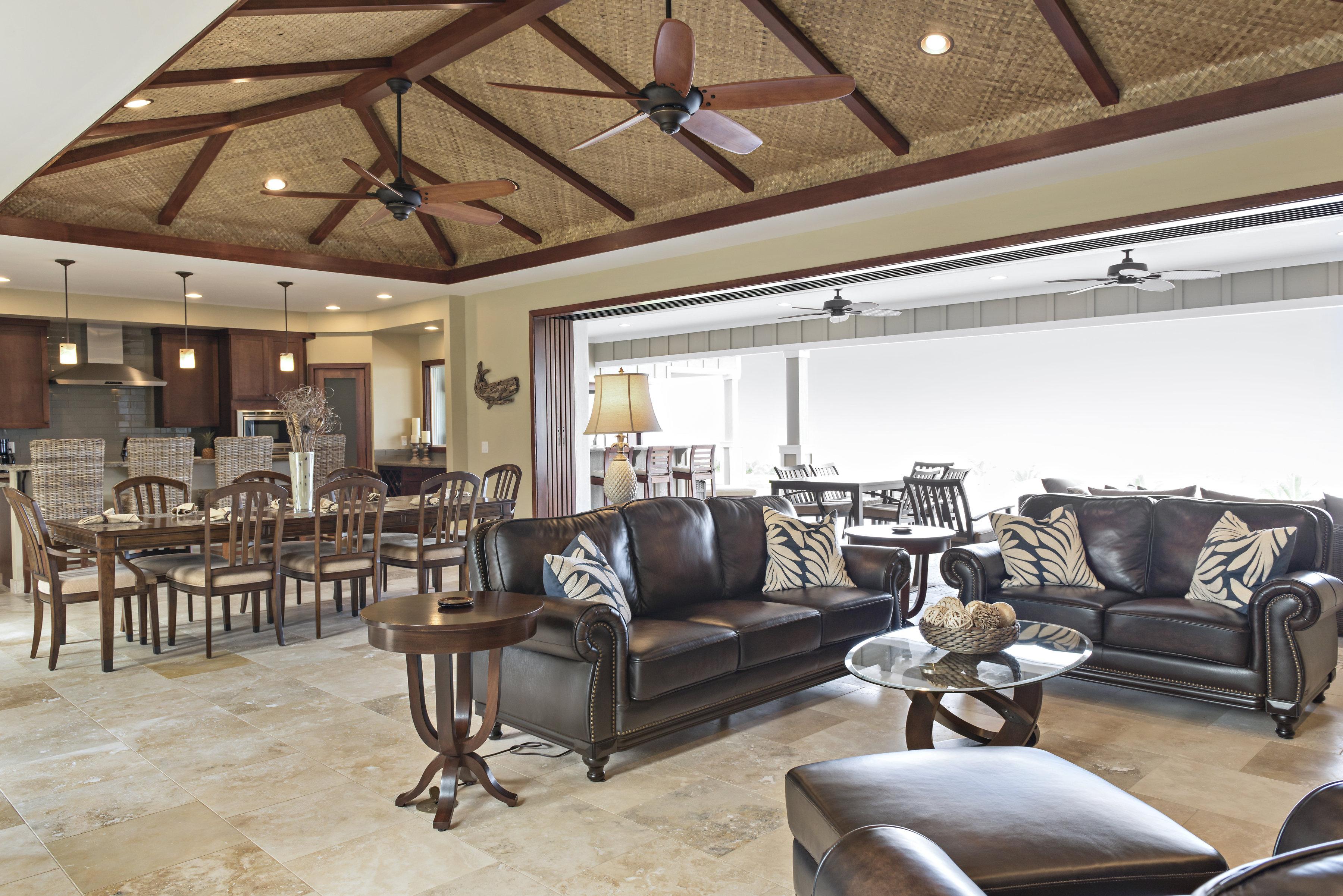 Living room with 22' wide doors