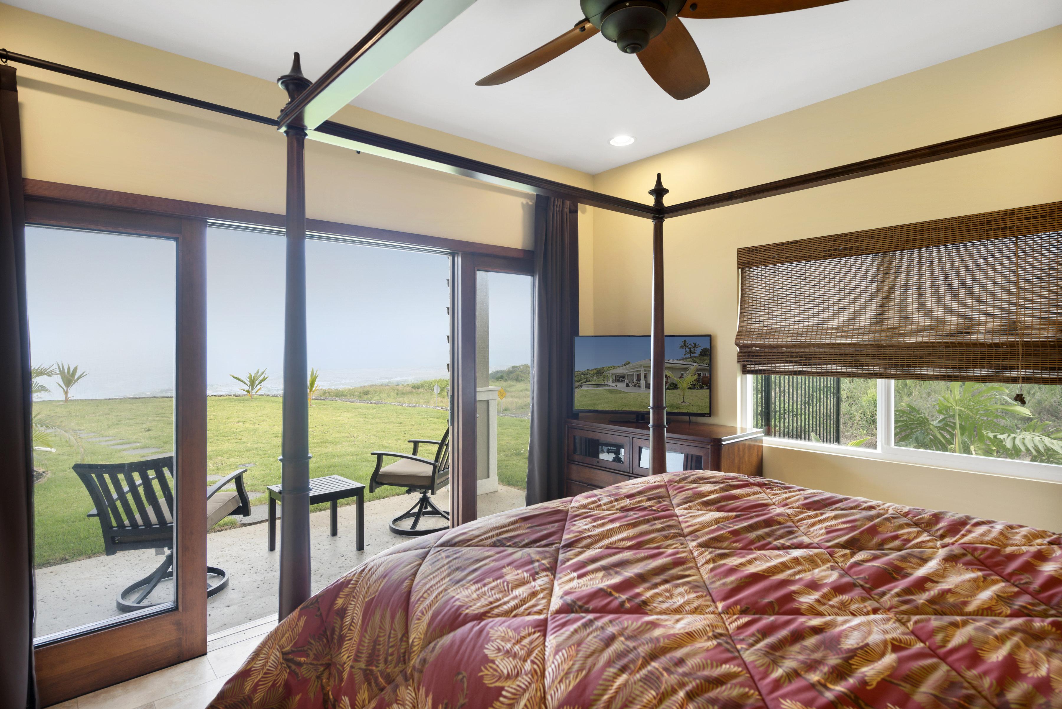 Queen bedroom with ocean view.