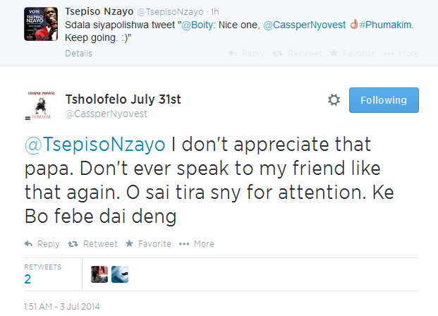 Casper takes offense at boity diss