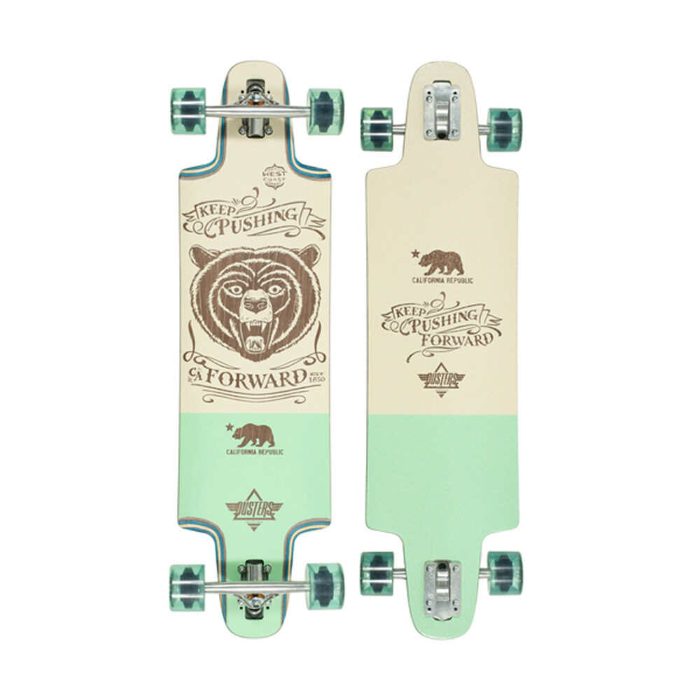 "Width: 9.5"" / Length: 36"" / Wheelbase: 27"" Drop Through · Clear Griptape · Slant 180mm inverted trucks · Dusters Abec 7 bearings · 71mm 78A wheels"