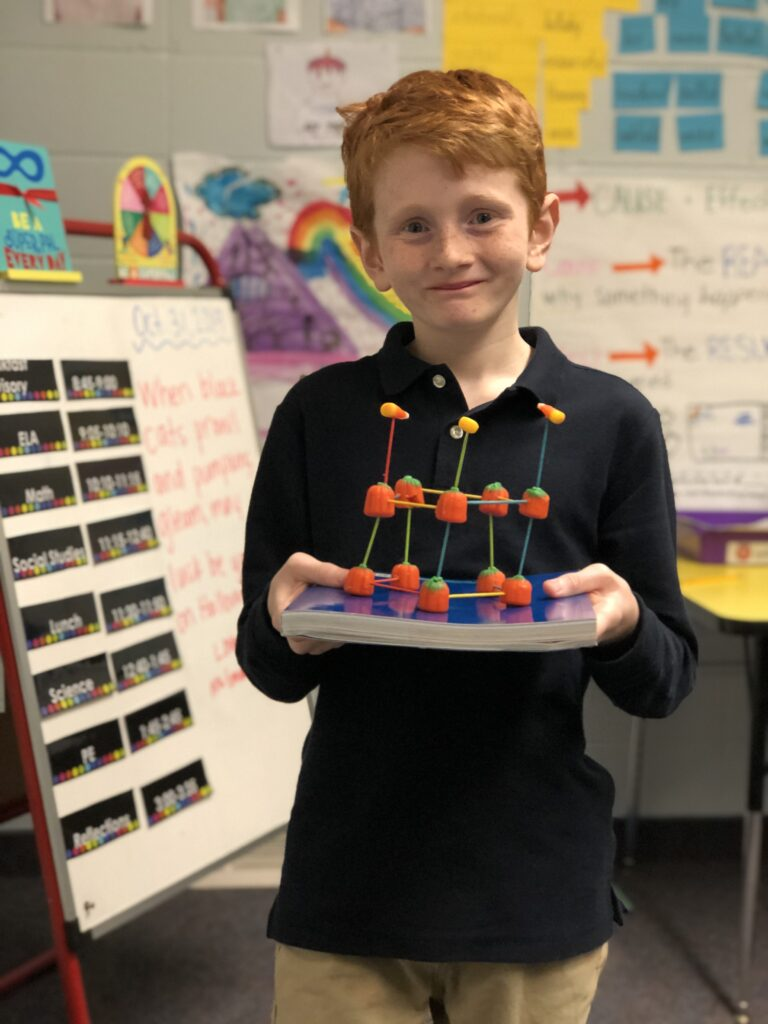 boy with science model