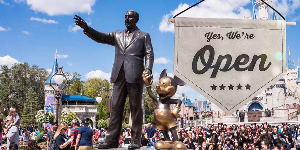 Walt Disney and MIckey Mouse Statue in Orlando