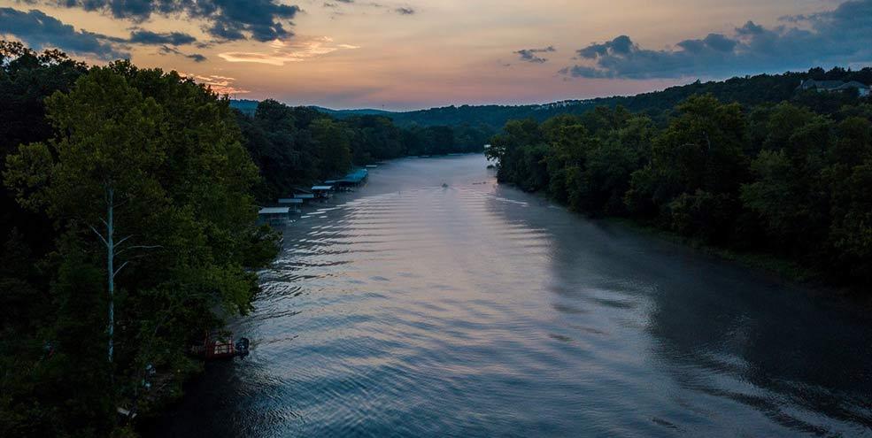 Aerial view of lake in Branson, Missouri