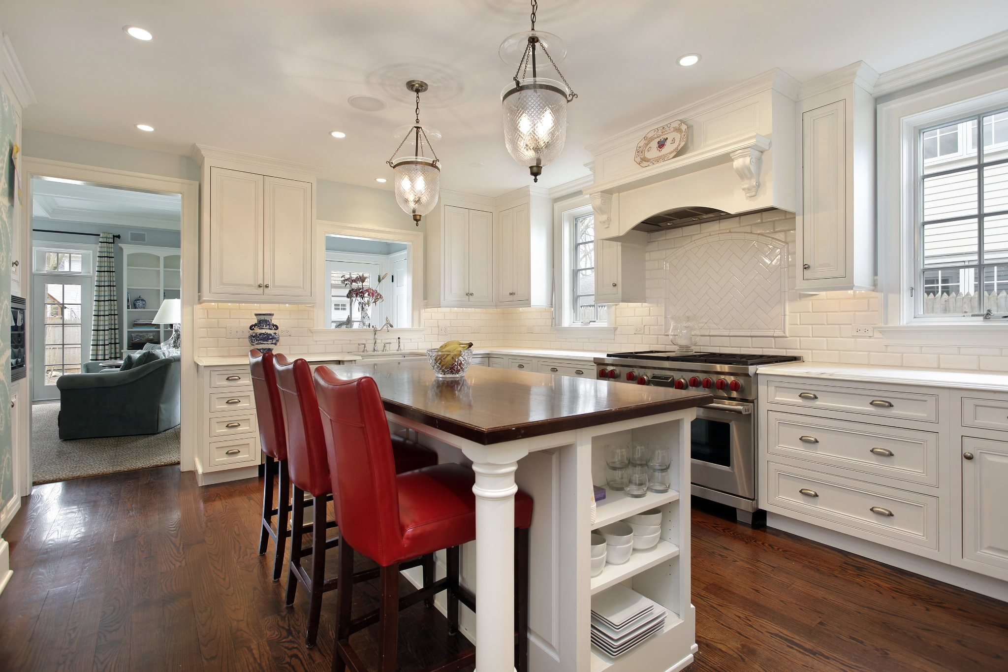 Kitchen with wood counter island
