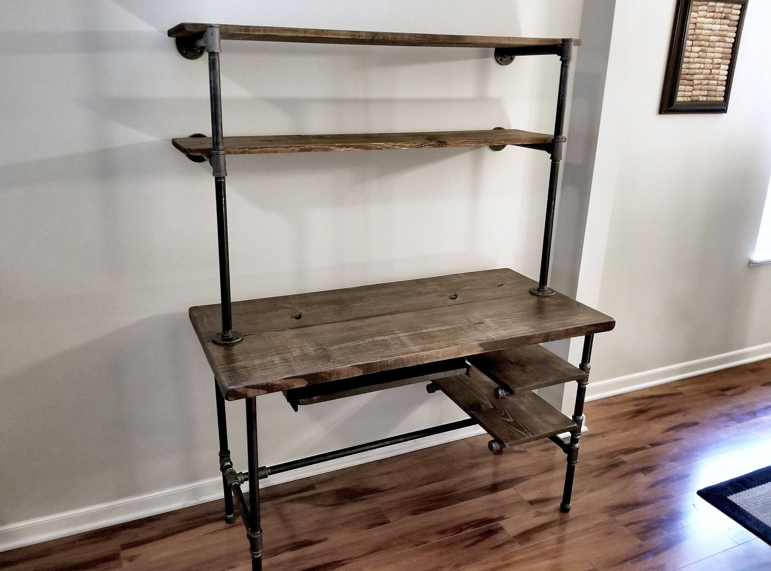 Steel and Wood Desk - Office Iron Pipe Desk with Keyboard Tray - 2 Desk Shelves and 2 Wall Shelves - Multiple Shelf