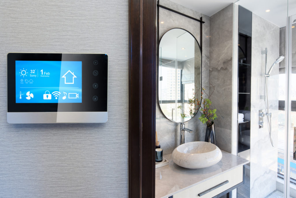 smart home system on intelligence screen on wall and background of modern bathroom