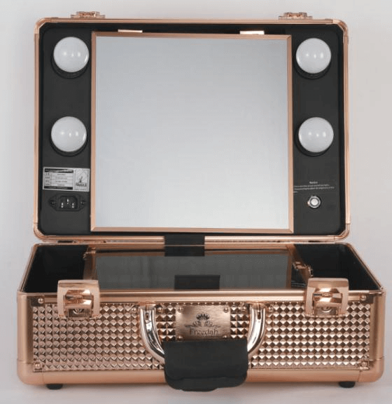 rose gold portable makeup case