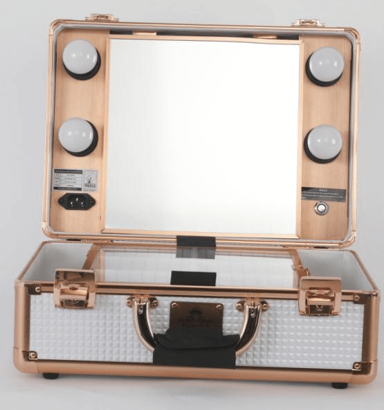 white makeup case with lights
