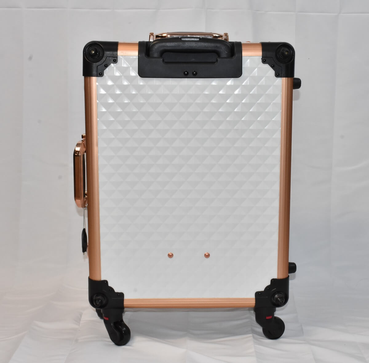 White Diamond LED Vanity Travel Case back