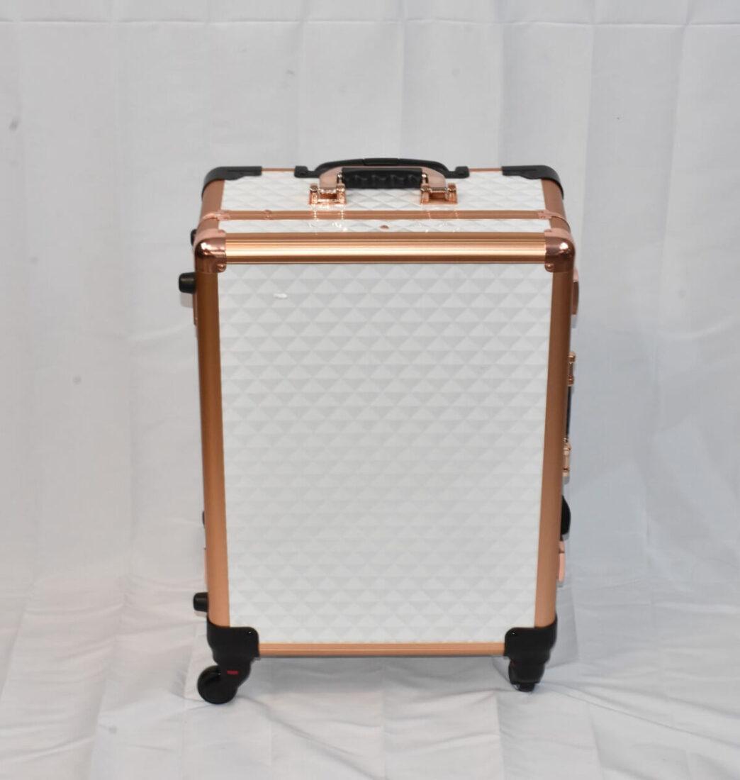 White Diamond LED Vanity Travel Case front