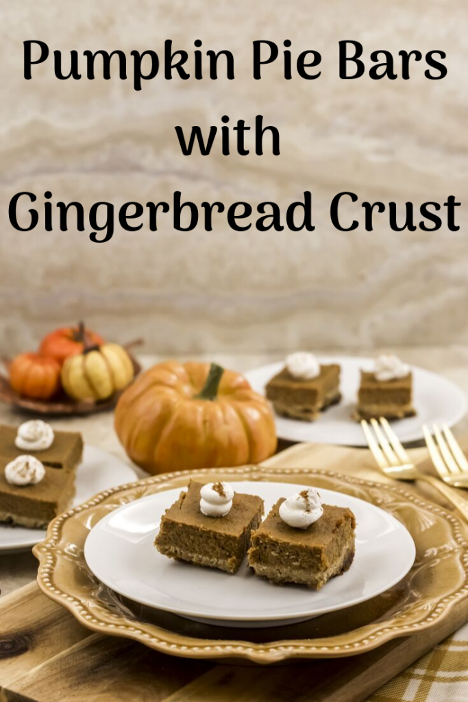 Pumpkin Pie Bars with Gingerbread Crust