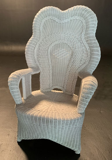 White wicker throne chair