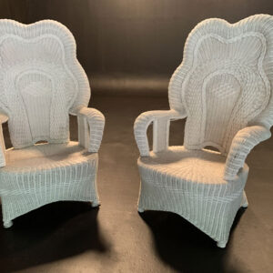 White wicker throne chairs