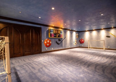 Ultimate recreational room with game closet & scorecboard