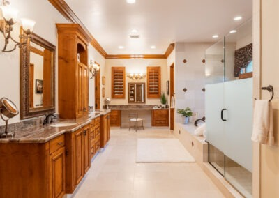 large bathroom with built-in cabinetry